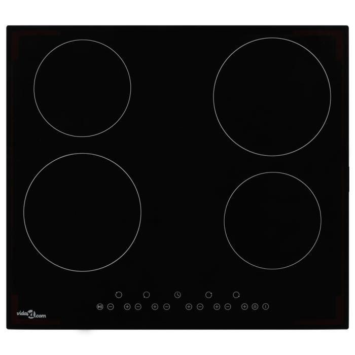 Plaque de cuisson Table de Cuisson Portable Plaque Electrique Chauffante Céramique 4 brûleurs Contrôle tactile 6000 W