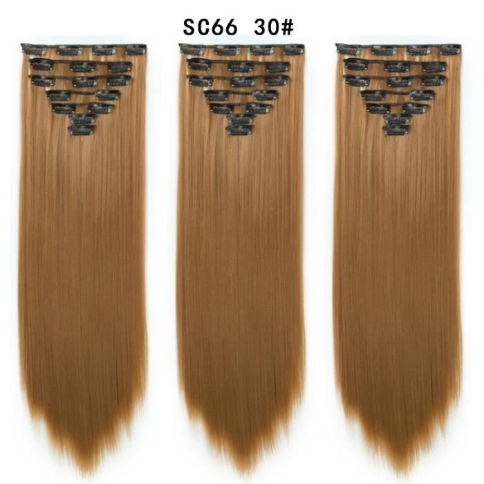 SC66-30 22 pouces -Pinces à cheveux 2020 synthétique naturel queue de cheval Extensions de cheveux humains postiche 16Clip on éping