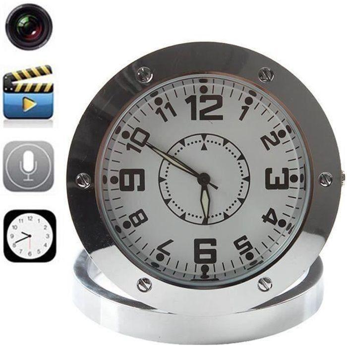 Round Caméra Horloge murale Caméra Spy Clock Mini caméra Horloge espion caché alarme bureau caméra de surveillance Nanny Cloc C0B6A9