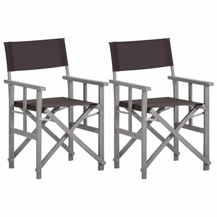 Magnifique Lot de 2 Chaises de jardin Moderne Chaises de metteur en scène- Fauteuil de jardin relaxation- Chaise De Camping B8098