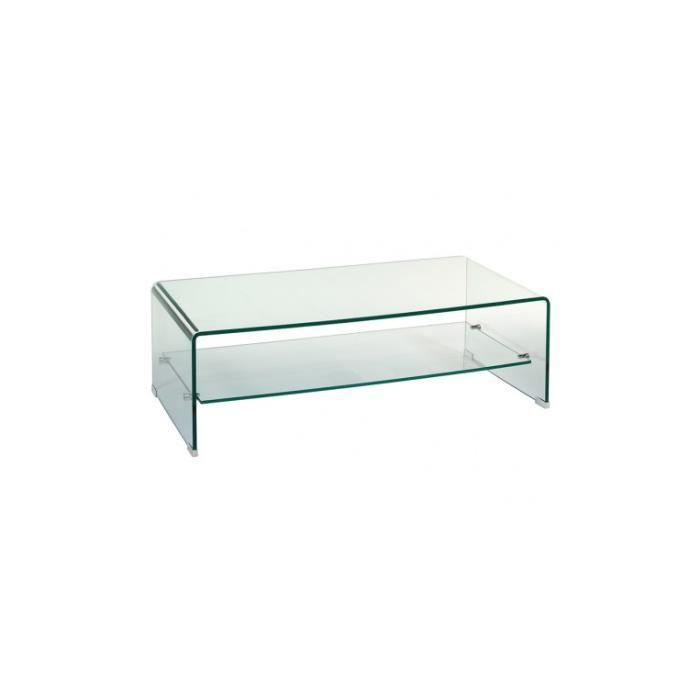 Table basse en verre rectangulaire Transparente CRISTAL 110 cm