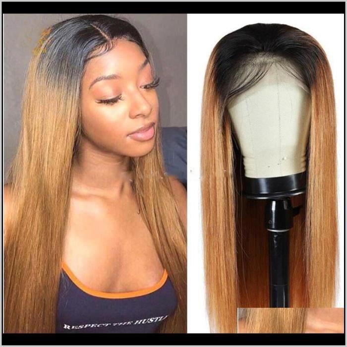 Perruque avant en dentelle Cheveux humains blonds 1B-27 brun droite brésilien 18- LISSE lumière du soleil Ombre point