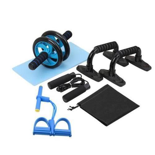 ouii 5-en-1 Kit Roue abdominale Support push-up Roue musculaire à roues double multifonction (Bleu)