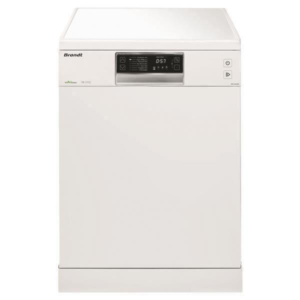 Lave-vaisselle pose libre BRANDT DFH14624W - 14 couverts - Largeur 60 cm - Classe A++ - 44 dB - Blanc