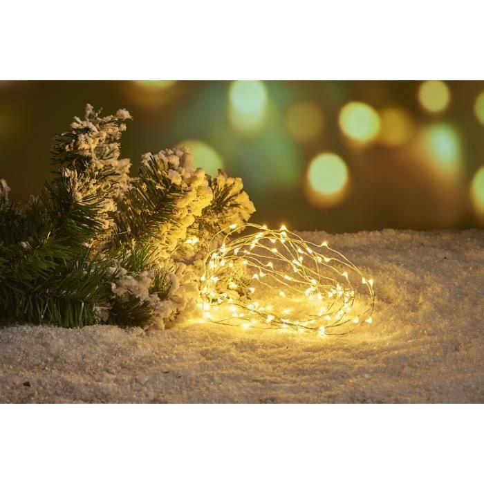 Guirlande filaire - 40 LED blanc chaud - L.2 m - Fil argent