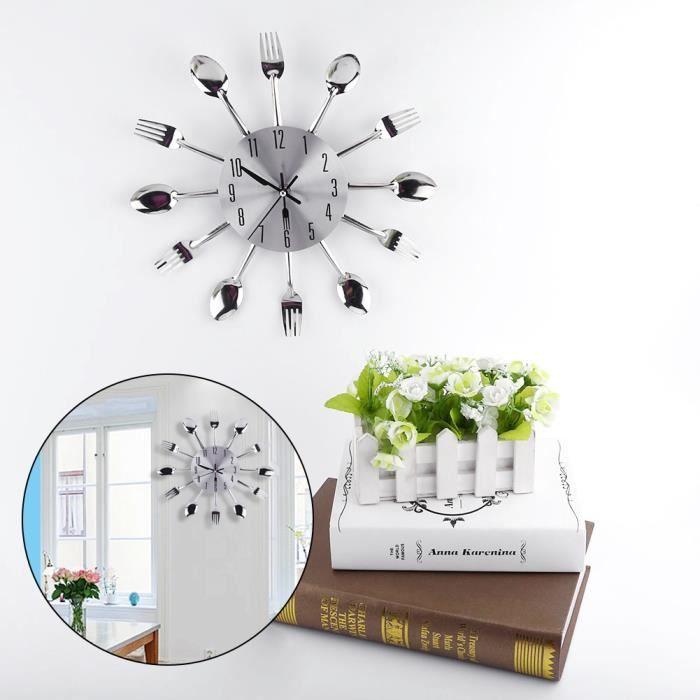 juncolour Grand miroir 3D Surface argent Design moderne couverts ustensile de cuisine cuillère fourchette horloge murale bricolage