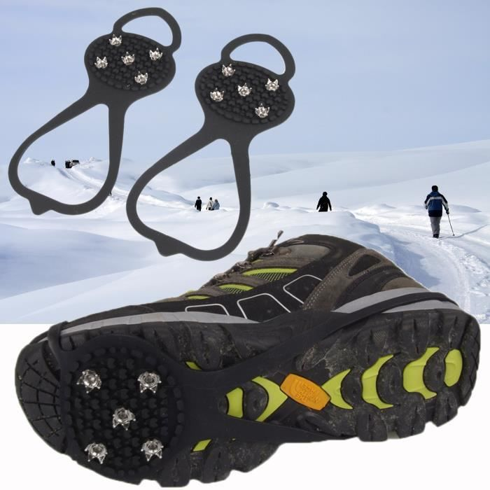 Elisona® 1 Paire 5 Dents PE Glace Neige Crampons Anti-Dérapant Boot Chaussures Housses Spike Crampons Glace Pince pour Plein Air...