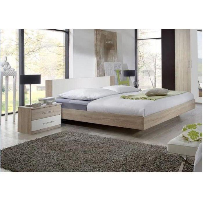 Lit design EVA couchage 160 x 200 cm chêne clair rechampis blanc bi color Bois Inside75