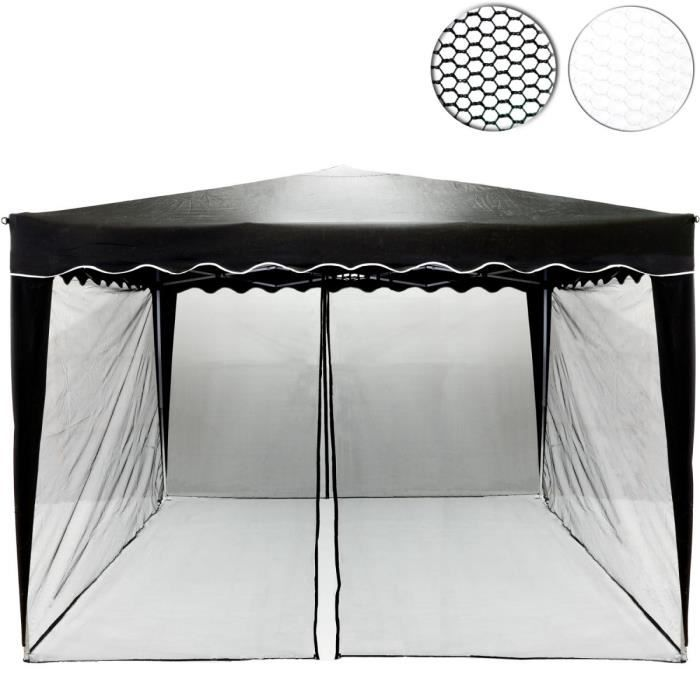 Moustiquaire noire - pour tonnelle 3 x 3 – 2 fermetures à glissières et sangles velcro pour fixation des panneaux latéraux