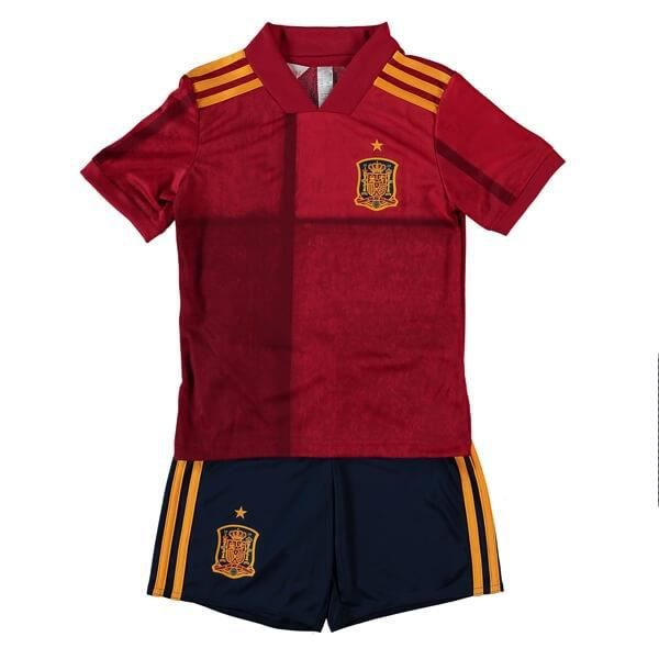 Maillot Espagne 2020 Maillot de Foot Football Soccer(Tops + shorts)Suit Maillot Equipe de Spain Pas Cher pour Enfant Garçon