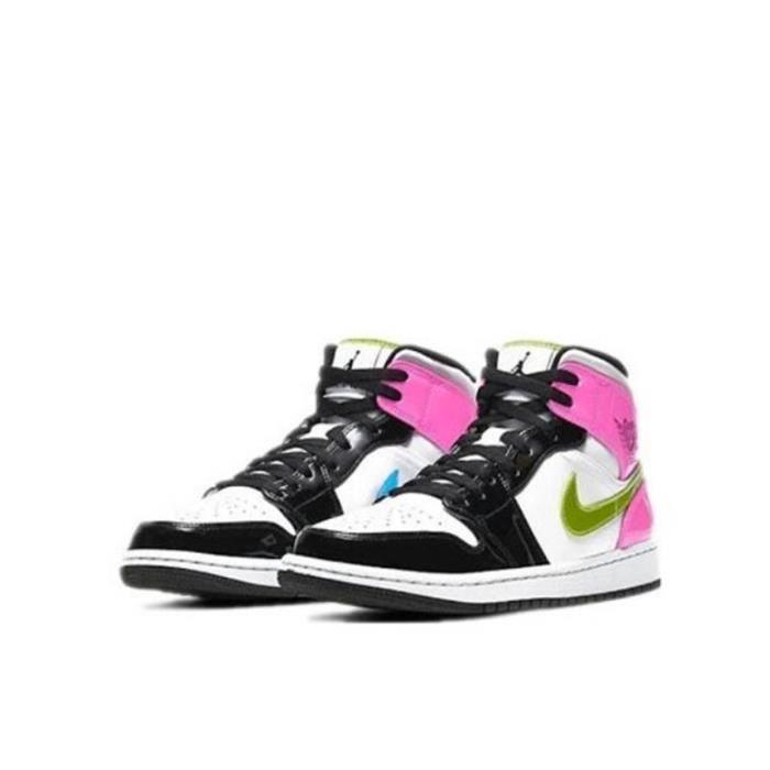 Air Jordan 1 Mid-Patent Leather-Chaussures de Sport AJ 1 Pas Cher pour Femme
