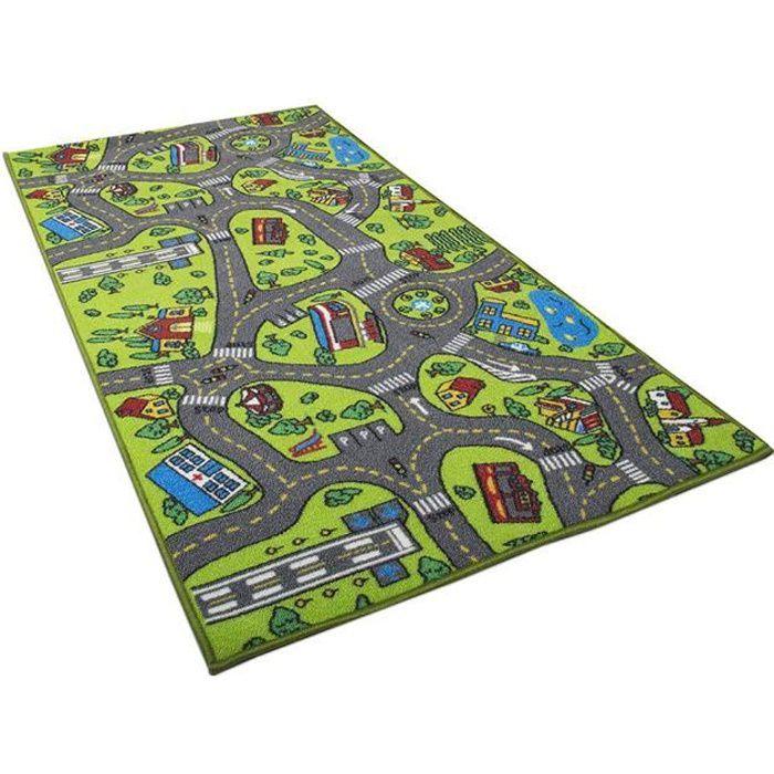 Tapis de voiture enfant pour petites voitures salle de jeux salle de classe tapis de jeu multicolore coffre-fort amusant tapis