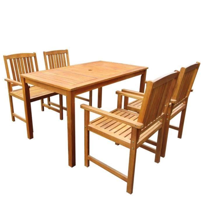 Luxueux Magnifique Moderne-Mobilier à dîner-Salon d'extérieur 5 pcs Bois d'acacia solide