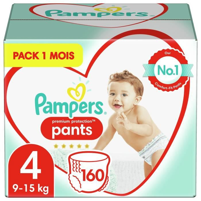 Pampers Active Fit Nappy Pants Taille 4, 160 Couches-Culottes - Pack 1 Mois
