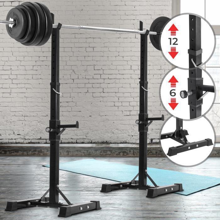 Physionics® Support pour Haltères Longs - 12 Niveaux de Réglage, Charge Max. 100 kg - Repose Barre, Rack de Rangement pour Poids