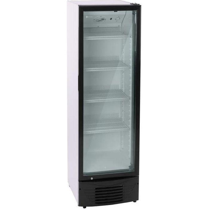 Frigo à boissons Réfrigérateur Bar Noir 320 Litres 228 Canettes 4 Tablettes Vitrine RCGK-B320
