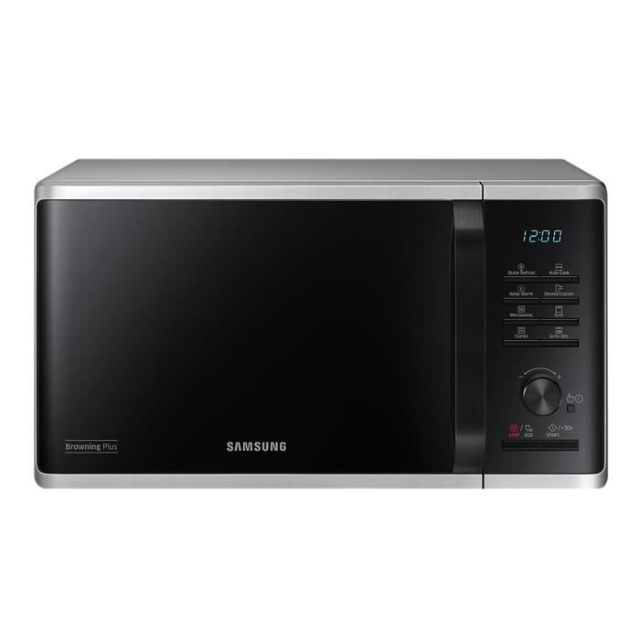 Samsung MG23K3515AS-EG, Comptoir, Micro-ondes grill, 23 L, 800 W, boutons, Rotatif, Argent
