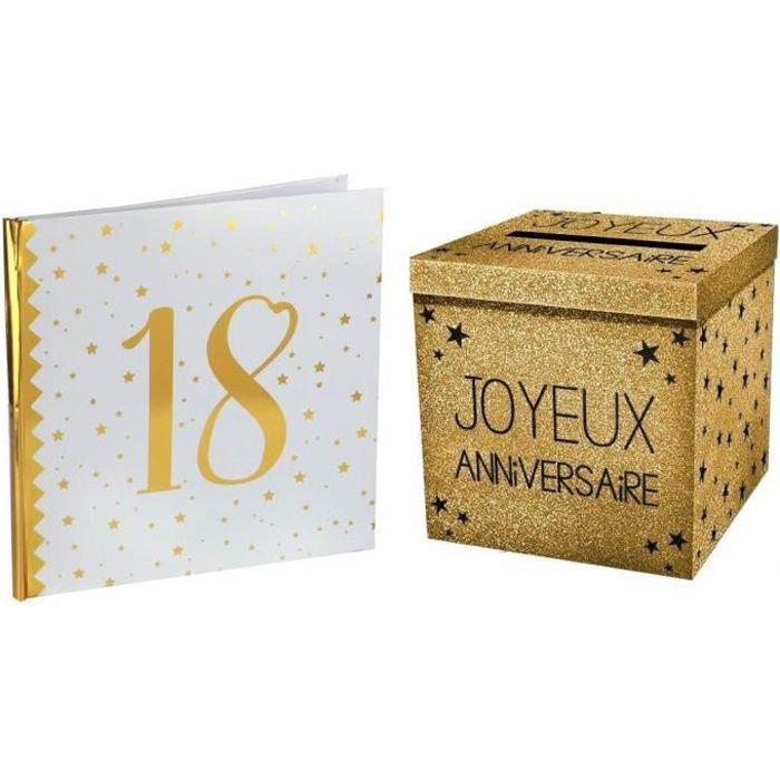 1 Pack tirelire et livre d'or anniversaire 18ans blanc et or R/6185-URNEP00OR