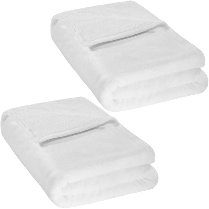 TECTAKE Lot de 2 Plaids Canapé en Polaire 220 cm x 240 cm Blanc + Sac de Rangement