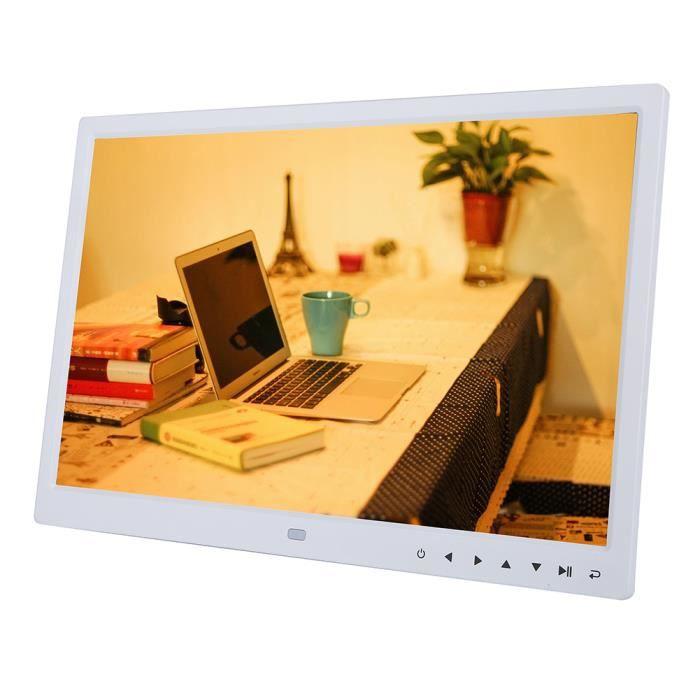 Cadre photo numérique 15 -écran tactile bouton HD réveil lecteur mp3 - 4 de film (blanc)-DIN
