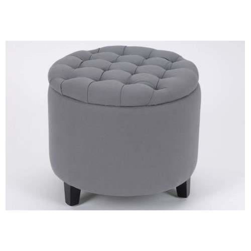 pouf coffre rond capitonn gris amadeus achat vente pouf poire cdiscount. Black Bedroom Furniture Sets. Home Design Ideas