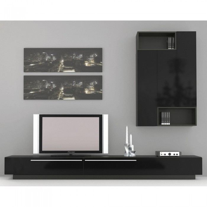 meuble tv mural dark design couleur noir mati r achat. Black Bedroom Furniture Sets. Home Design Ideas
