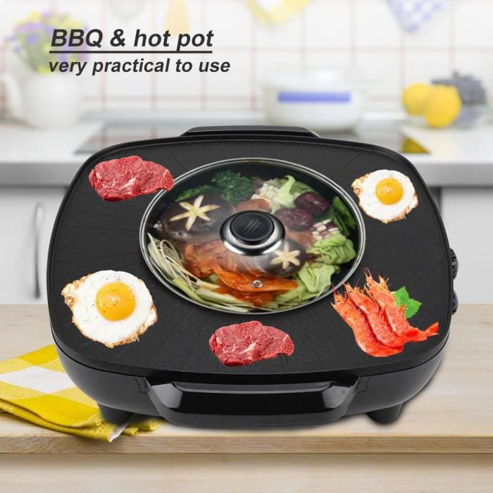 Hot Pot Bbq 1200w 2 En 1 Poele Electrique Hot Pot Bbq Friture