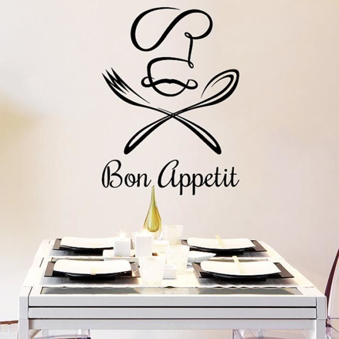 bon app tit stickers muraux pour cuisine d coration la maison achat vente stickers cdiscount. Black Bedroom Furniture Sets. Home Design Ideas