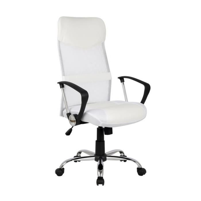 fauteuil de bureau balard blanc achat vente chaise de bureau blanc cdiscount. Black Bedroom Furniture Sets. Home Design Ideas