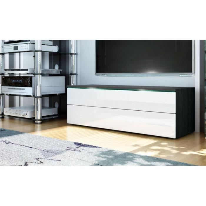 meuble tv bas noir blanc 109 cm achat vente meuble. Black Bedroom Furniture Sets. Home Design Ideas
