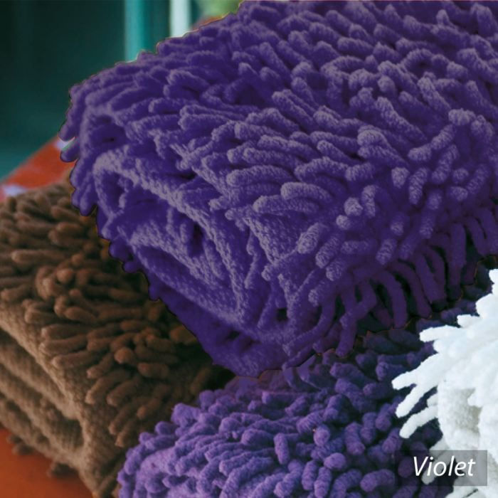 tapis de bain chenille pure violet 50x80 achat vente. Black Bedroom Furniture Sets. Home Design Ideas