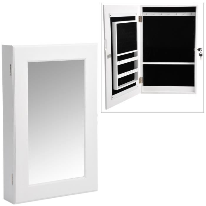 miroir mural porte bijoux coloris blanc achat vente miroir cdiscount. Black Bedroom Furniture Sets. Home Design Ideas
