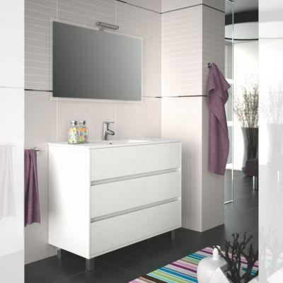 meuble salle de bain 100 cm couleur blanc achat vente. Black Bedroom Furniture Sets. Home Design Ideas