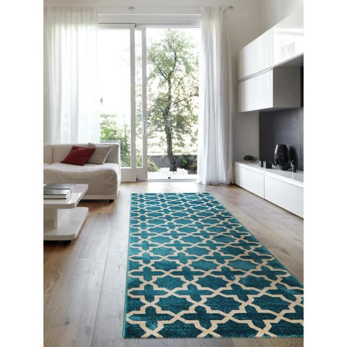 benuta tapis de couloir arabesque bleu 80x240 cm achat vente tapis cdiscount. Black Bedroom Furniture Sets. Home Design Ideas