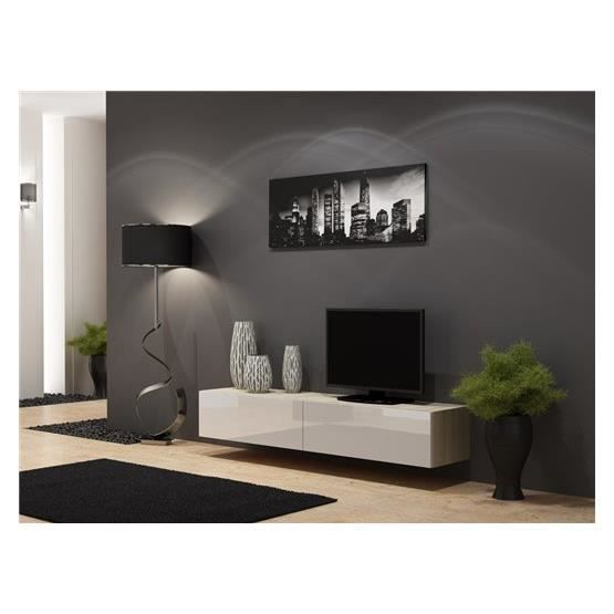 meuble tv design suspendu vito 180 bois et blanc achat. Black Bedroom Furniture Sets. Home Design Ideas