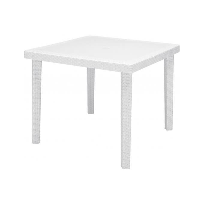 Table de jardin carr e blanche en polymeric kalina achat for Vente table jardin