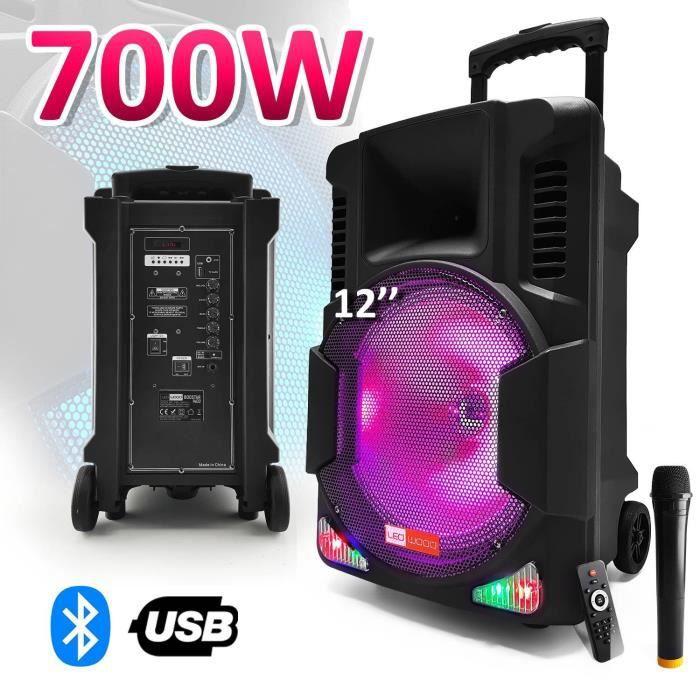 """ENCEINTE ET RETOUR Enceinte active batterie 700W 12"""" LEDs RVB + Micro"""