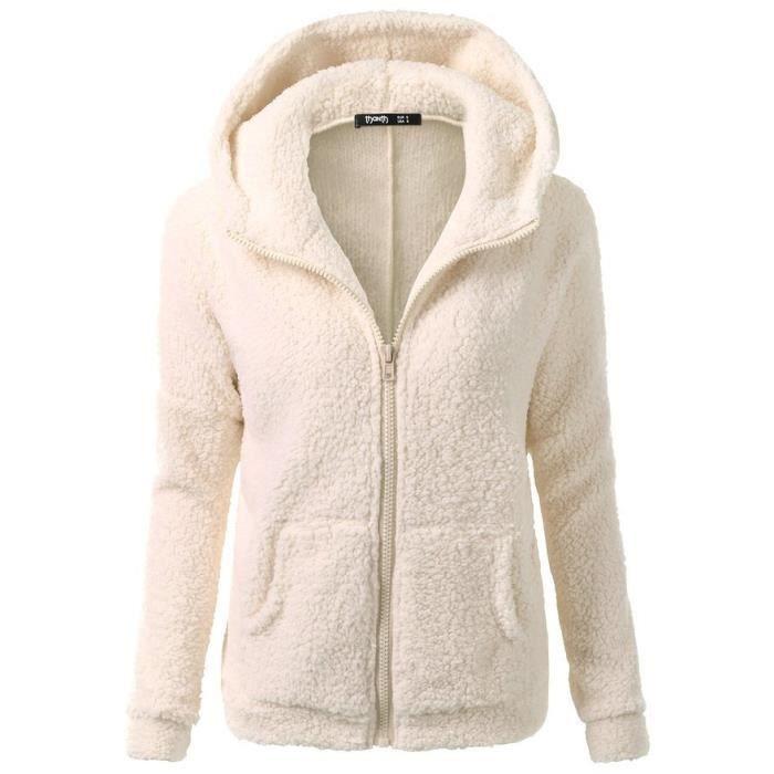 Femme Sweat à Capuche fleece Veste Polaire Zippé Sweatshirt Manteau Hoodies Chaud Automne Hiver blouse Beige