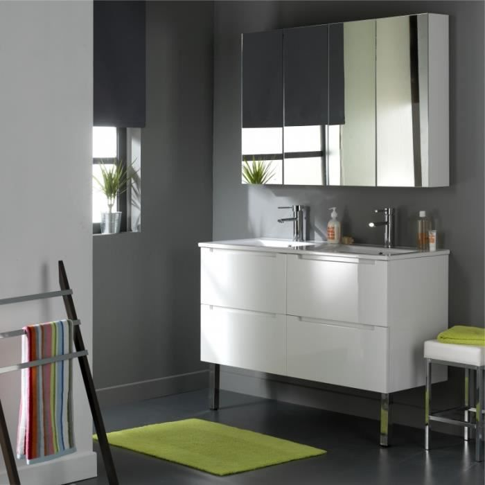 meuble design en 120 cm avec 4 tiroirs blanc laqu achat vente lavabo vasque 622013. Black Bedroom Furniture Sets. Home Design Ideas