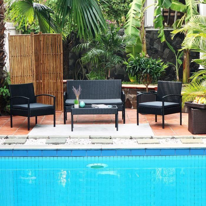Salon de jardin 4 places en resine tressee noir
