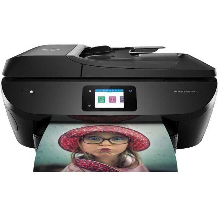 HP Imprimante tout en un Envy Photo 7830 - Éligible Instant Ink 70% d'économies sur l'encre