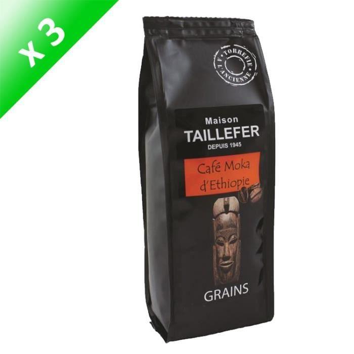 [LOT DE 3] Café Moka d'Ethiopie Grains Sachet 250g