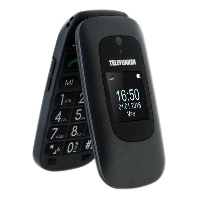 TELEFUNKEN Téléphone mobile à clapet TM 250 IZY Senior Noir