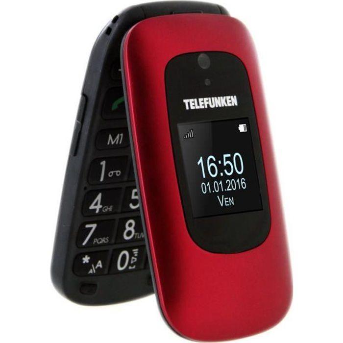 TELEFUNKEN Téléphone mobile à clapet TM 250 IZY Senior Rouge