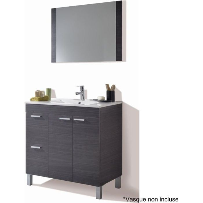 aktiva meuble sous vasque gris cendr et miroir achat vente meuble vasque plan meuble sous. Black Bedroom Furniture Sets. Home Design Ideas