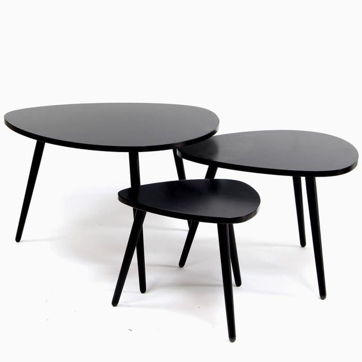 table gigogne forme galet set de 3 couleur noire achat vente table basse table gigogne. Black Bedroom Furniture Sets. Home Design Ideas