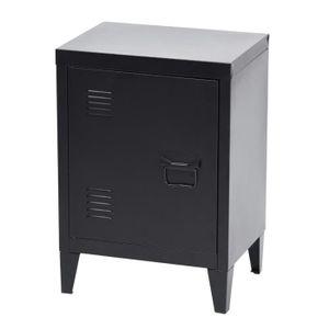 CHEVET GRAVES Table de chevet en métal - Noir - L 30 x P