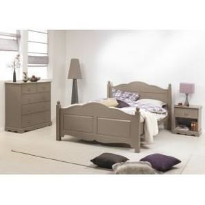 Chambre taupe lit 140 commode chevet achat vente for Axel chambre complete adulte 140 cm reglisse mastic