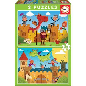 PUZZLE EDUCA PUZZLE 2X48 DRAGONS ET CHEVALIERS