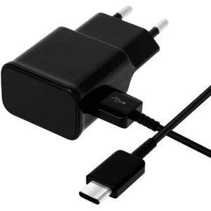 CHARGEUR TÉLÉPHONE Cable USB-C + Chargeur Secteur Noir [Compatible Hu